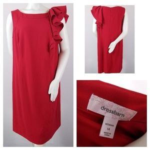Dress Barn 14 Red Boxy Ruffle Shoulder Sleeveless
